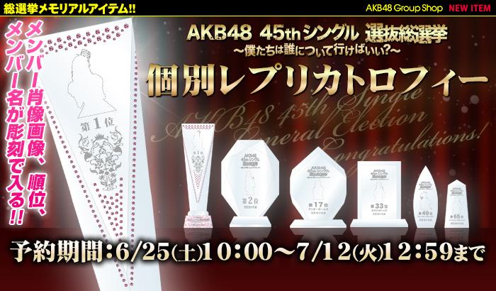 AKB48 45thシングル 選抜総選挙~僕たちは誰について行けばいい?~ 個別レプリカトロフィー